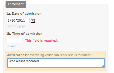 Overriding form validation